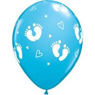 Latex Printed 30cm Baby Boy Feet Balloons   Qualatex
