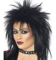 1980's Punk Rock Diva Black Wig | Smiffy's