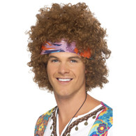 Hippy Afro with Headband Brown | Smiffy's