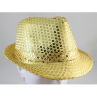 Sequin Fedora Hat Gold | PartyTime