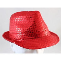 Sequin Fedora Hat Red    PartyTime