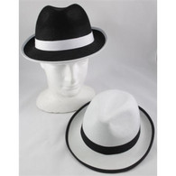 Black & White Trim Fedora Hat | Party Time