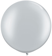Latex Round 75cm Pearl Silver Balloon | Qualatex
