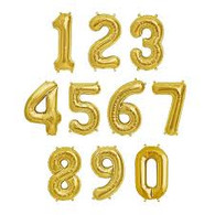 "Air Filled Gold 14"" Alphabet Foil Number Balloon 