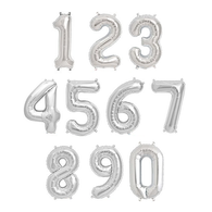 "Air Filled Silver 14"" Alphabet Foil Number Balloon 