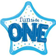 Fun to Be ONE 3D Effect Blue Star Foil Balloon | Anagram