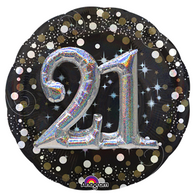 Giant 21st Birthday Sparkling 3D Supershape Foil Balloon | Anagram