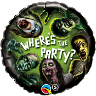 Foil Round Halloween Zombie 'Where's the Party' Balloon | Qualatex