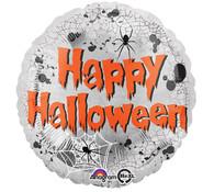 Foil Round Happy Halloween Silver Spider Balloon | Anagram