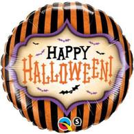 Foil Round Happy Halloween Orange Black Stripe Balloon | Qualatex