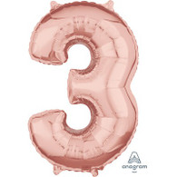 Mid Size Number Foil '3' Rose Gold Balloon | Anagram