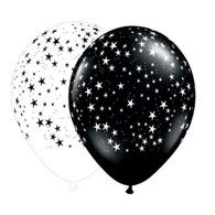 Latex Printed Stars A Round Black & White Balloons | Qualatex