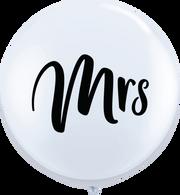Latex Round 90cm Printed 'Mrs' White Balloon   Qualatex