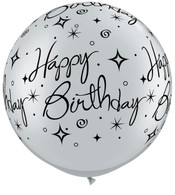 Latex Round 90cm Silver Happy Birthday Sparkle Balloon | Qualatex