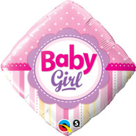 Foil Diamond Baby Girl Balloon   Qualatex