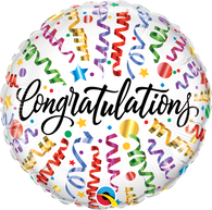 Foil Round Congratulations Streamers Balloon | Qualatex