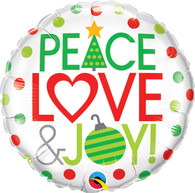 Foil Peace, Love & Joy Christmas Balloon | Qualatex