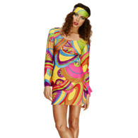1970's Flower Power Dress & Head Scarf | Fever Costumes