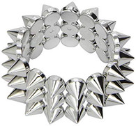 1980's Punk Rock Silver Metal Look Bracelet | Smiffy's