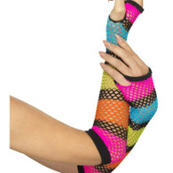 1980's Neon Fishnet Fingerless Gloves | Smiffy's