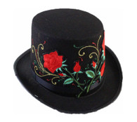 Top Hat Black with Embroided Red Roses | Trademart
