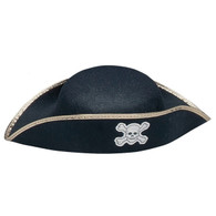 Pirate Hat Child Black with Gold Trim | Forum Novelties