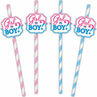Gender Reveal Boy/Girl Paper Straws with toppers | Amscan