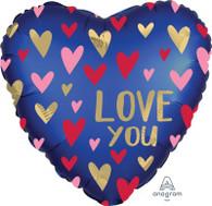 Foil Heart Satin Navy 'Love You' Balloon | Anagram