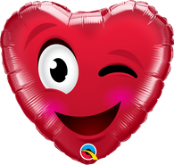 Foil Valentine's Day Winking Red Heart Balloon | Qualatex