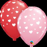 Latex Printed Red & Pink Random Hearts | Qualatex