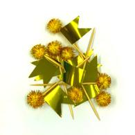 Cake Topper Glam Metallic Gold Flag Picks | Shmick