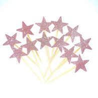 Cake Topper Glitter Pink Star Picks | Shmick