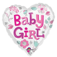 Foil Heart Baby Girl Balloon | Anagram