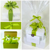 Healthy Gourmet Gifts gift presentation, two white high gloss boxes dressed with lemongrass green grosgrain ribbon.