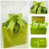 Healthy Gourmet Gifts gift bag presentation, with green grosgrain ribbon