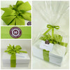 Healthy Gourmet Gifts gift presentation, white high gloss box dressed with lemongrass green grosgrain ribbon.