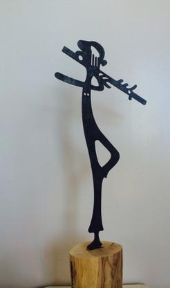 The Rainbow Flautist Medium: Sculpture Material: Corten steel and timber Artists: Lipika Sen & Prabhjyot Majithia