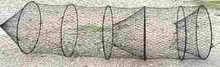 """20"""" Hoop Net 1"""" mesh, 5 steel hoops, Square flew in front.  Fingered flew in tail, can be fished vertically or horizontally"""