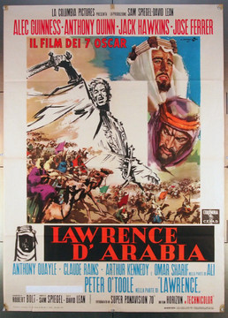LAWRENCE OF ARABIA (1962) 26788 Columbia Pictures Italian 39x55  Academy Awards Style  Fine Condition  Folded  Theater-Used