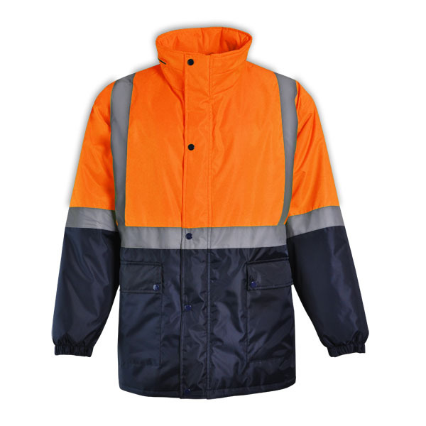 Reflective padded jacket available in orange and yellow for Spa uniform suppliers cape town