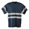 150g Poly Cotton Safety T-Shirt with tape / navy