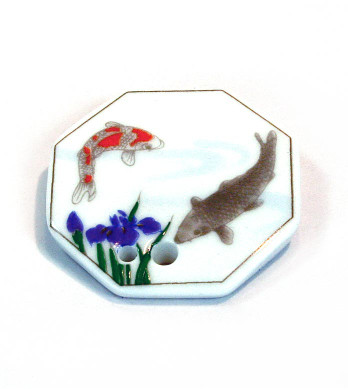 Fish & Iris Porcelain Incense Holder