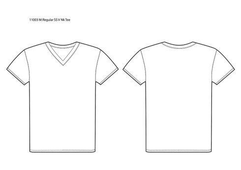 11003 Men's Regular Fit Short Sleeve V Neck Tee sketch