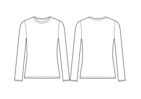 21005 Women's Regular Fit LS Crew Nk Tee sketch
