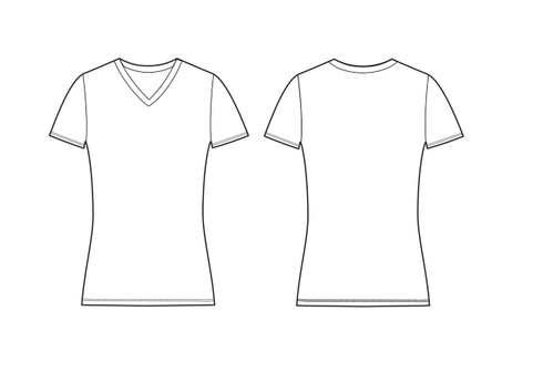 21004 W's Slim Fit Short Sleeve V Neck Tee sketch