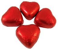 Red Foiled Milk Chocolate Caramel Crème Filled Love Hearts - 1kg