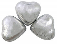 Silver Foiled Milk Chocolate Caramel Creme Filled Love Hearts - 1kg