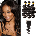 3 Bundles & Closure Body Wave Virgin Brazilian Hair