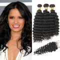 3 Bundles & Closure Wavy Virgin Peruvian Hair
