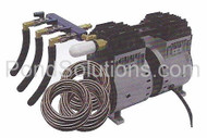SCPA66 1/2 HP Rocking Piston Pond Aeration Systems 3 Double Diffusers Poly Tubing